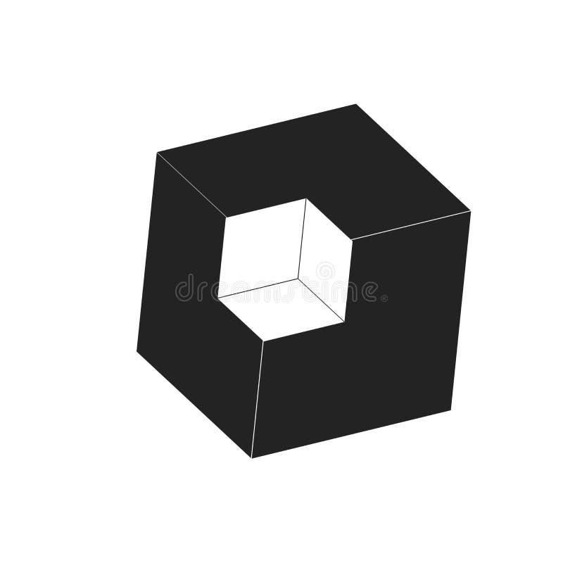 Tecken och symbol för kubsymbolsvektor som isoleras på vit bakgrund, kublogobegrepp vektor illustrationer
