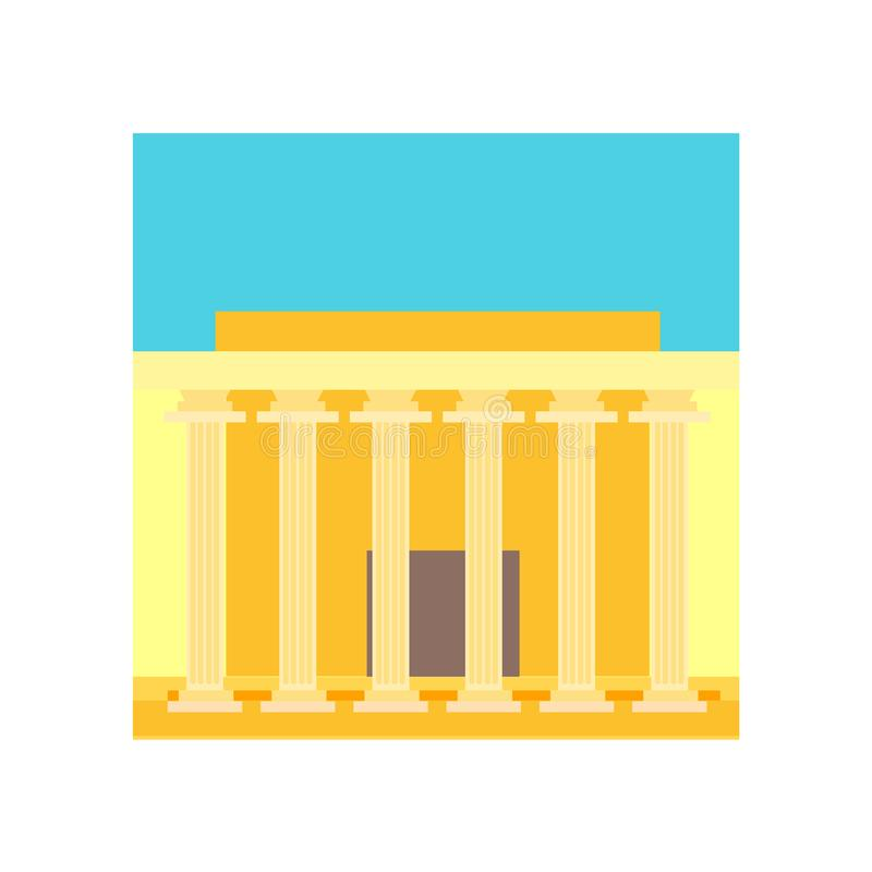 Tecken och symbol för Lincoln minnes- symbolsvektor som isoleras på vitt b stock illustrationer
