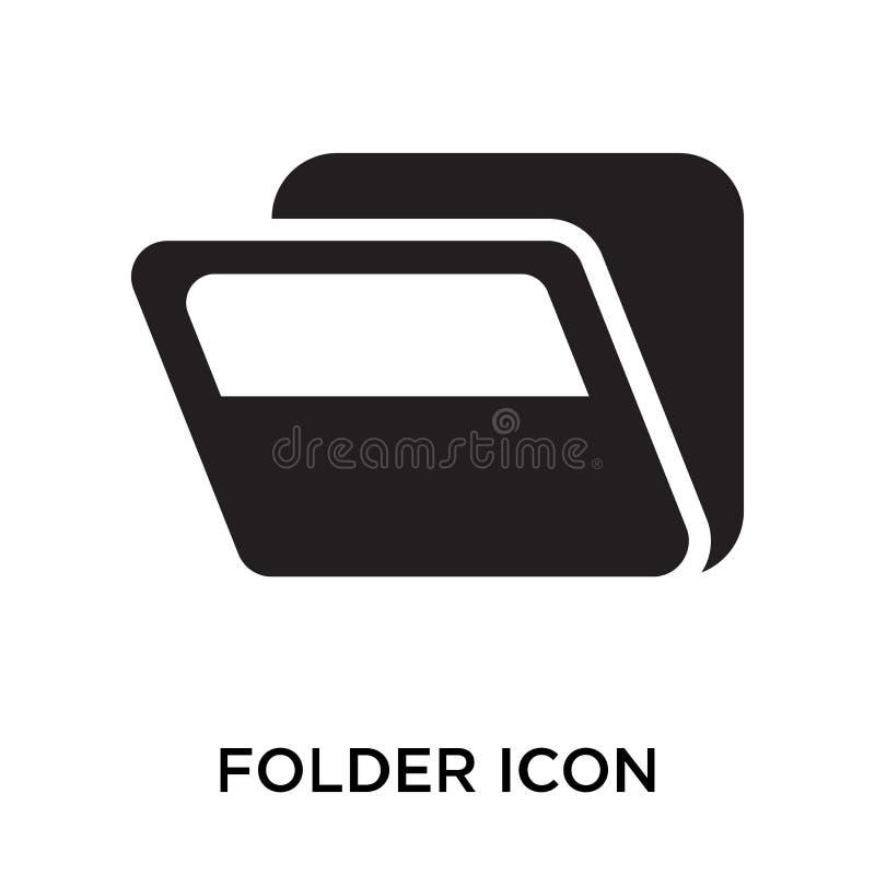 Tecken och symbol för mappsymbolsvektor som isoleras på vit bakgrund, royaltyfri illustrationer