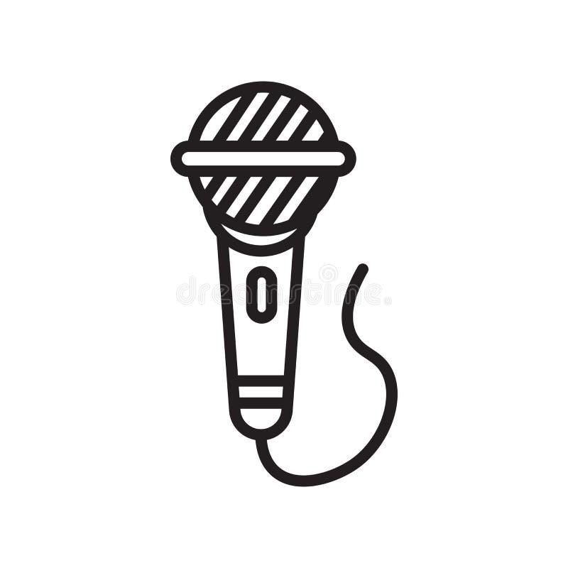 Tecken och symbol för mikrofonsymbolsvektor som isoleras på vit bakgrund, mikrofonlogobegrepp royaltyfri illustrationer