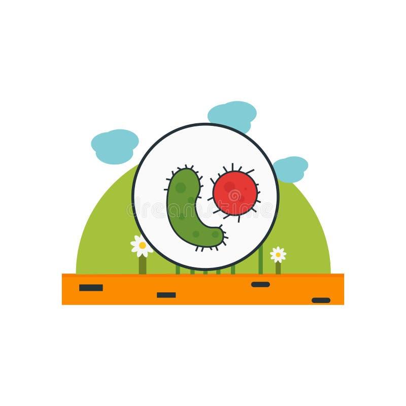 Tecken och symbol för mikroorganismsymbolsvektor som isoleras på vit bakgrund, mikroorganismlogobegrepp stock illustrationer