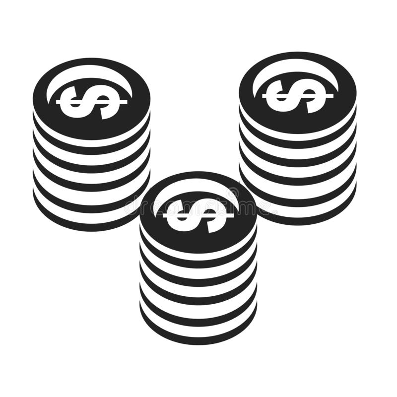 Tecken och symbol för myntsymbolsvektor som isoleras på vit bakgrund, myntlogobegrepp royaltyfri illustrationer