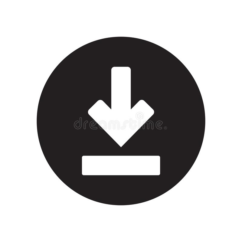 Tecken och symbol för nedladdningsymbolsvektor som isoleras på vit bakgrund, nedladdninglogobegrepp royaltyfri illustrationer