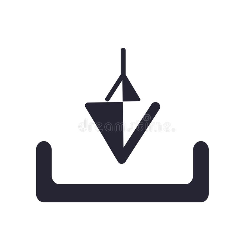 Tecken och symbol för nedladdningsymbolsvektor som isoleras på vit bakgrund, nedladdninglogobegrepp stock illustrationer