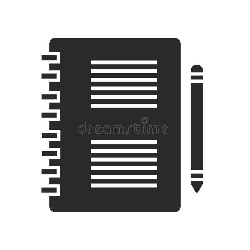Tecken och symbol för Notepadsymbolsvektor som isoleras på vit bakgrund, Notepadlogobegrepp stock illustrationer