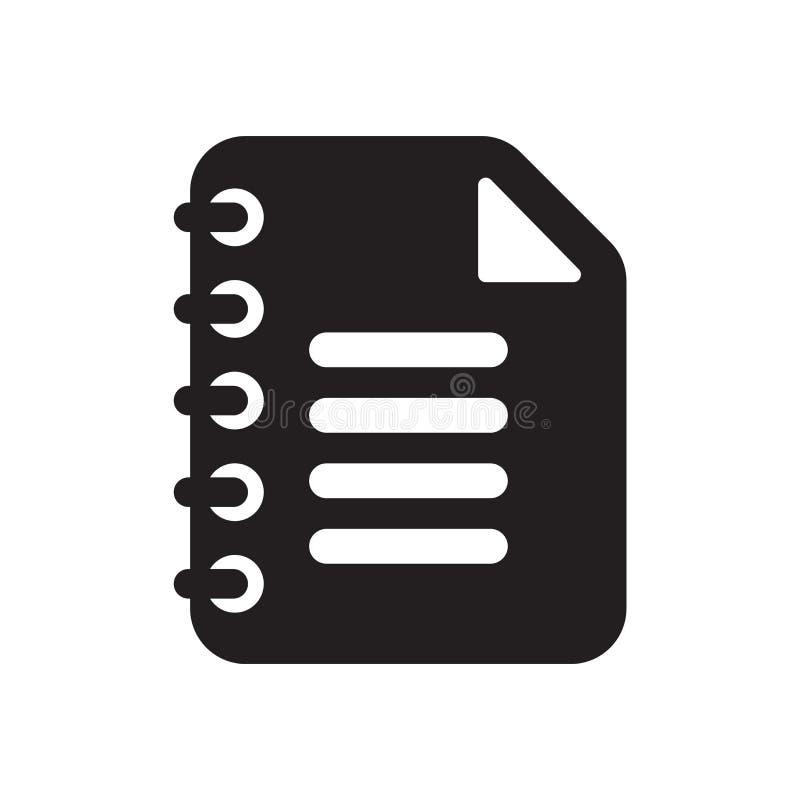 Tecken och symbol för Notepadsymbolsvektor som isoleras på vit bakgrund, Notepadlogobegrepp royaltyfri illustrationer