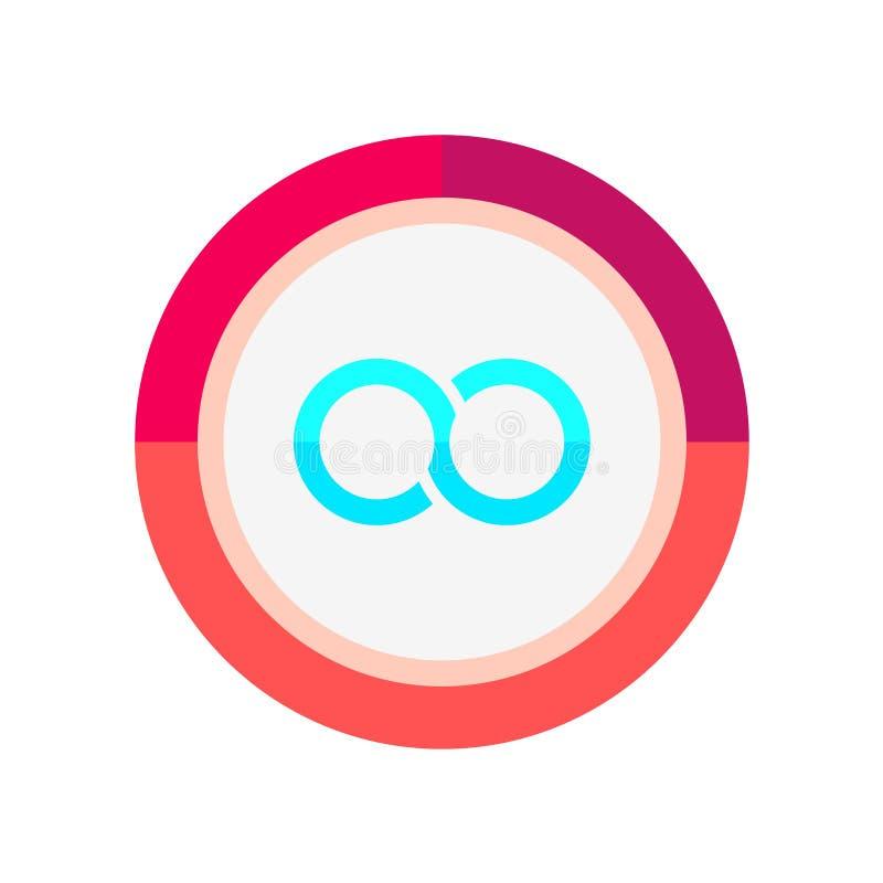 Tecken och symbol för oändlighetssymbolsvektor som isoleras på vit bakgrund, oändlighetslogobegrepp stock illustrationer