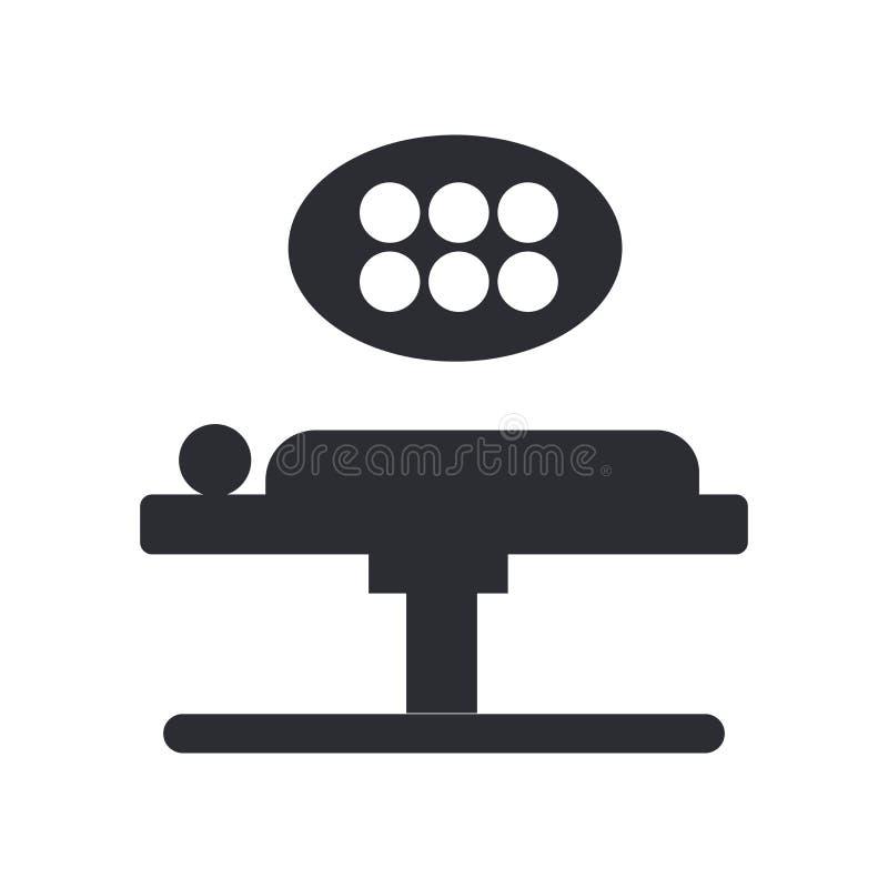 Tecken och symbol för operationsbordsymbolsvektor som isoleras på vit bakgrund, operationsbordlogobegrepp stock illustrationer
