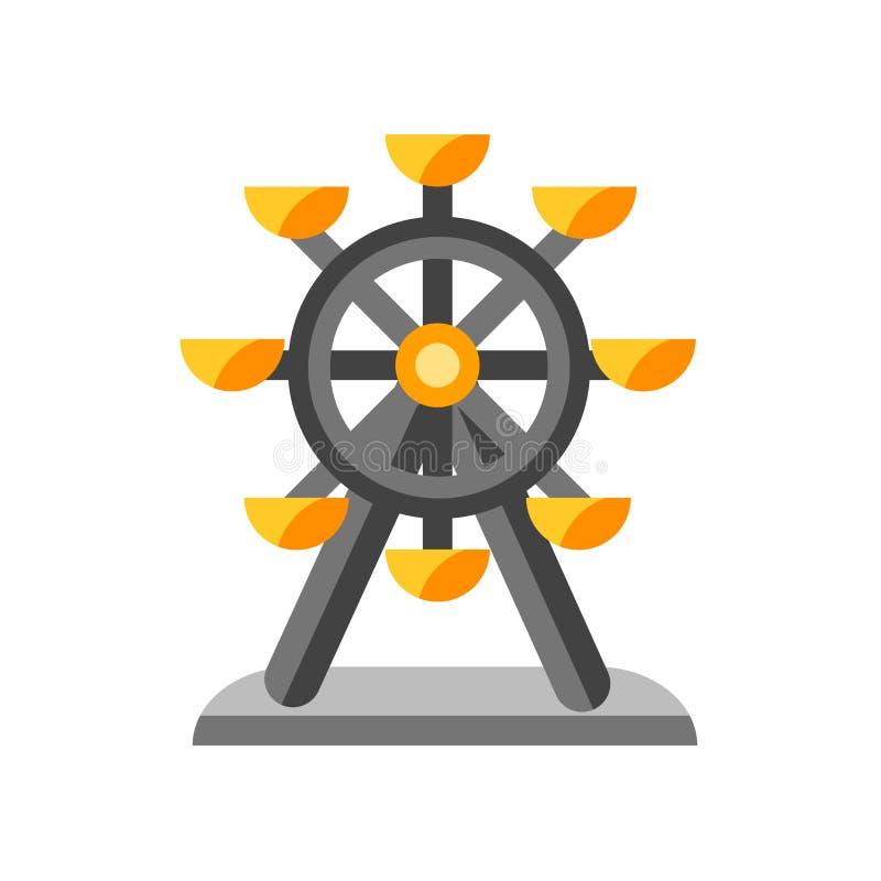 Tecken och symbol för pariserhjulsymbolsvektor som isoleras på vit backg stock illustrationer