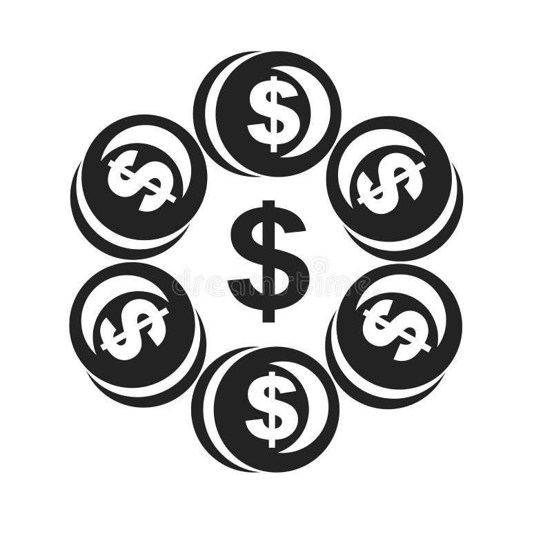 Tecken och symbol för pengarsymbolsvektor som isoleras på vit bakgrund, pengarlogobegrepp royaltyfri illustrationer
