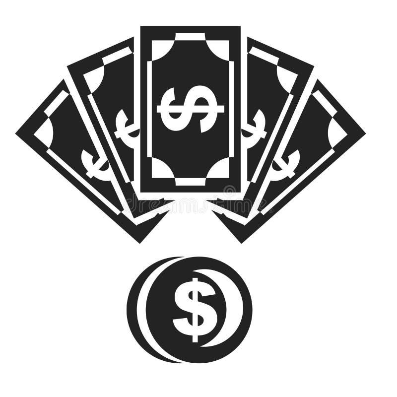 Tecken och symbol för pengarsymbolsvektor som isoleras på vit bakgrund, pengarlogobegrepp vektor illustrationer