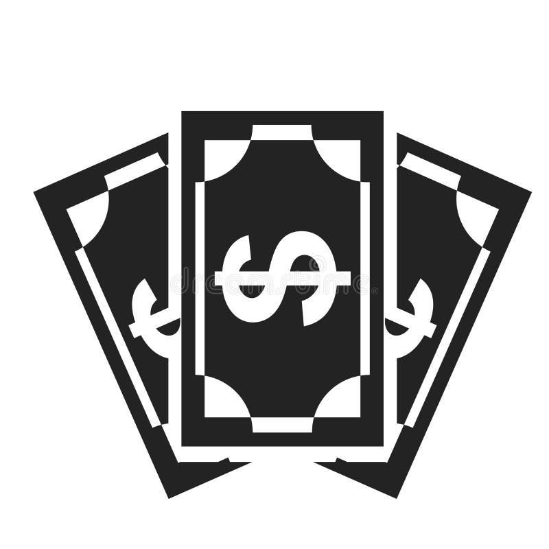 Tecken och symbol för pengarsymbolsvektor som isoleras på vit bakgrund, pengarlogobegrepp stock illustrationer