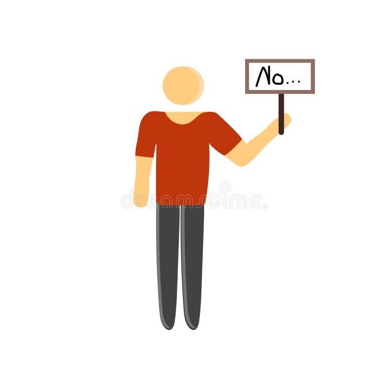 Tecken och symbol för person som protesterarsymbolsvektor som isoleras på vit bakgrund, person som protesterarlogobegrepp royaltyfri illustrationer