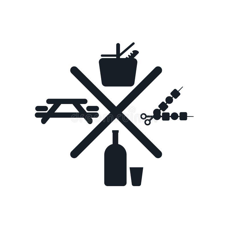 Tecken och symbol för picknicksymbolsvektor som isoleras på vit bakgrund, picknicklogobegrepp stock illustrationer