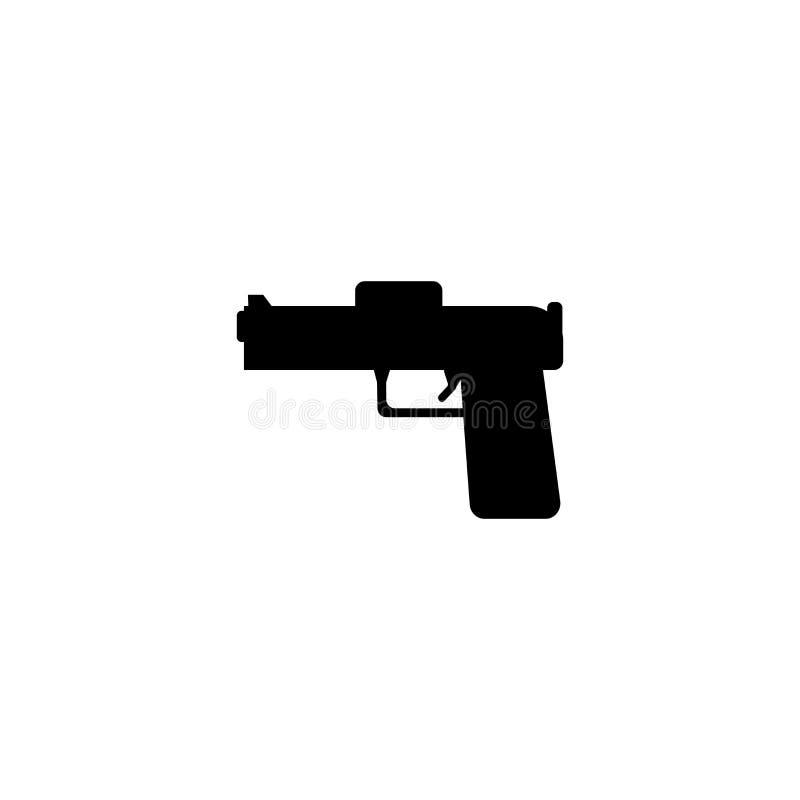 Tecken och symbol för pistolsymbolsvektor som isoleras på vit bakgrund, pistollogobegrepp royaltyfri illustrationer
