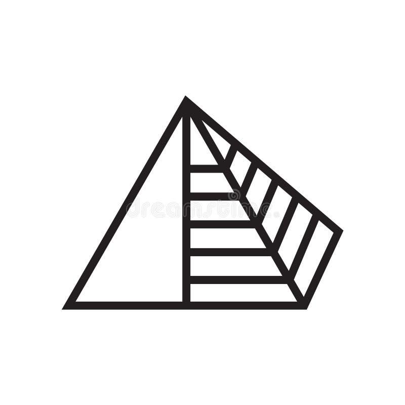Tecken och symbol för pyramidsymbolsvektor som isoleras på vit bakgrund, pyramidlogobegrepp royaltyfri illustrationer