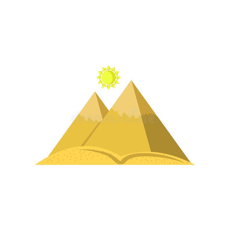 Tecken och symbol för pyramidsymbolsvektor som isoleras på vit bakgrund, pyramidlogobegrepp vektor illustrationer