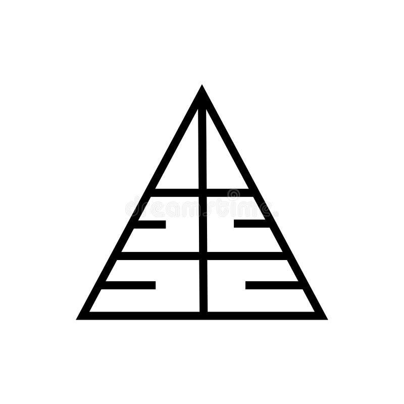 Tecken och symbol för pyramidsymbolsvektor som isoleras på vit bakgrund, pyramidlogobegrepp stock illustrationer