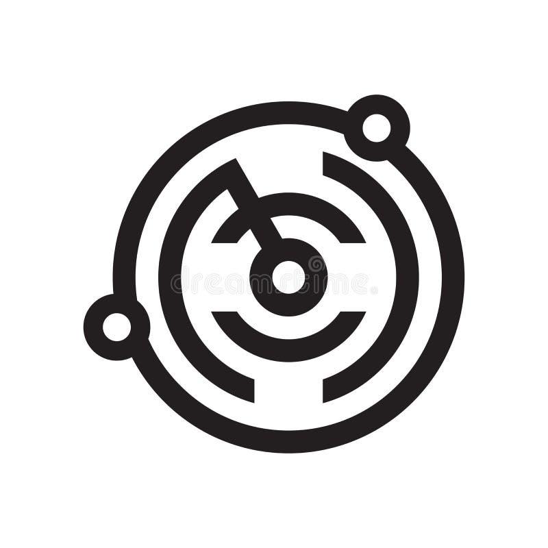Tecken och symbol för radarsymbolsvektor som isoleras på vit bakgrund stock illustrationer
