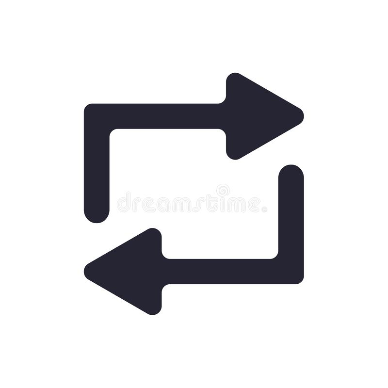 Tecken och symbol för repetitionsymbolsvektor som isoleras på vit bakgrund, repetitionlogobegrepp royaltyfri illustrationer
