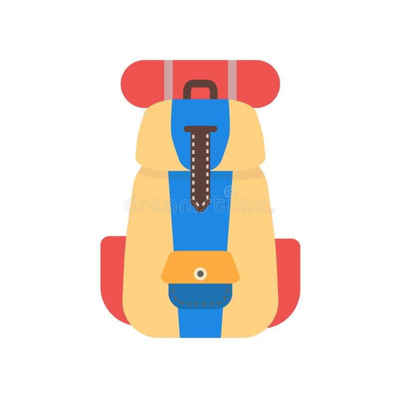 Tecken och symbol för ryggsäcksymbolsvektor som isoleras på vit bakgrund, ryggsäcklogobegrepp stock illustrationer