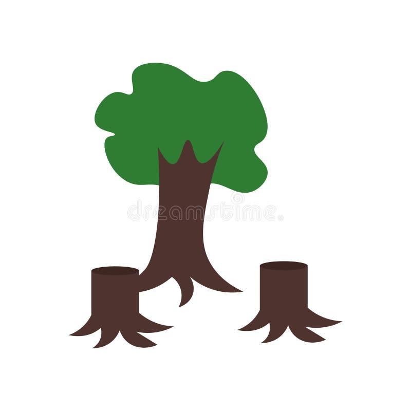 Tecken och symbol för skogsavverkningsymbolsvektor som isoleras på vit bakgrund, skogsavverkninglogobegrepp royaltyfri illustrationer