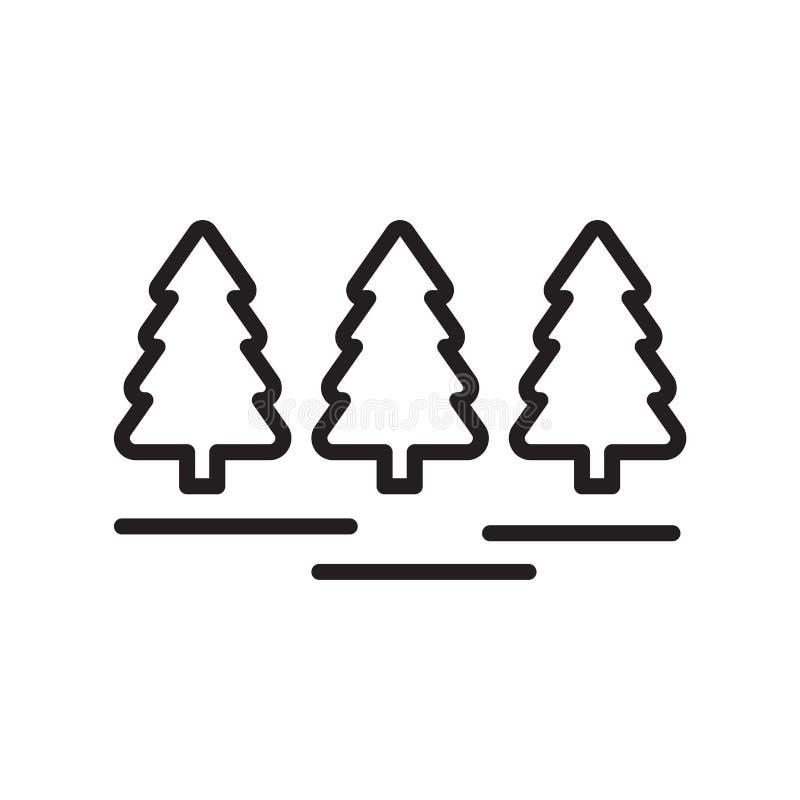 Tecken och symbol för skogsymbolsvektor som isoleras på vit bakgrund, skoglogobegrepp, översiktssymbol, linjärt tecken, översikt stock illustrationer