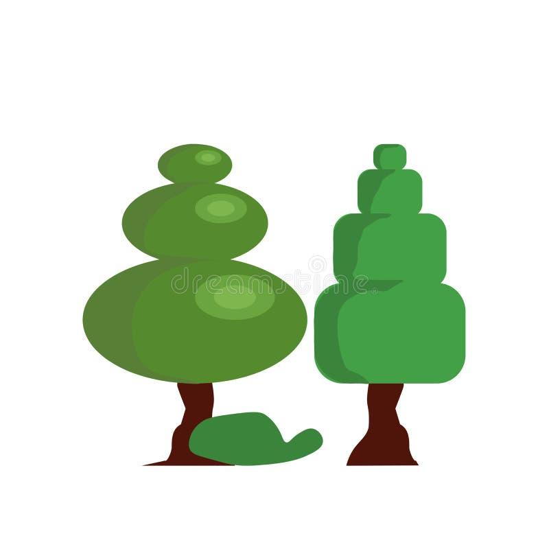 Tecken och symbol för skogsymbolsvektor som isoleras på vit bakgrund, skoglogobegrepp vektor illustrationer