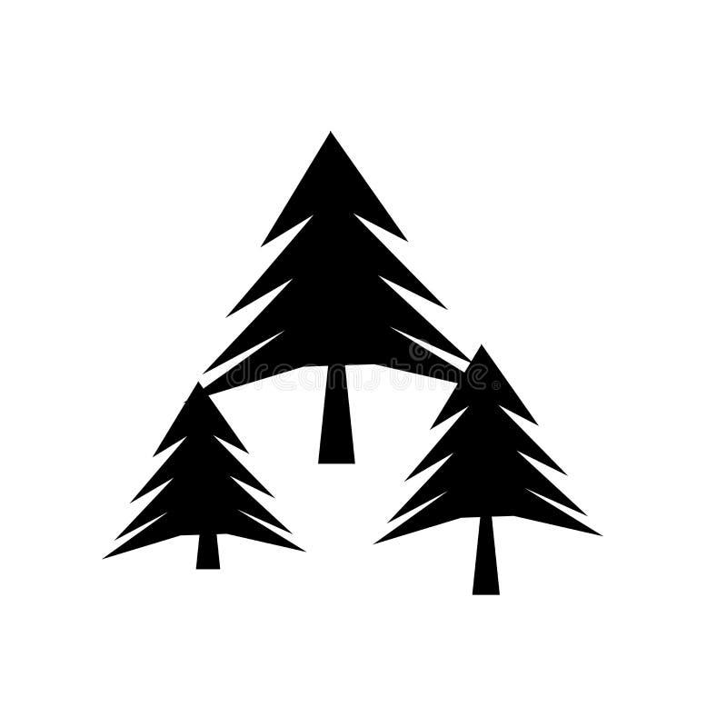 Tecken och symbol för skogsymbolsvektor som isoleras på vit bakgrund, skoglogobegrepp stock illustrationer