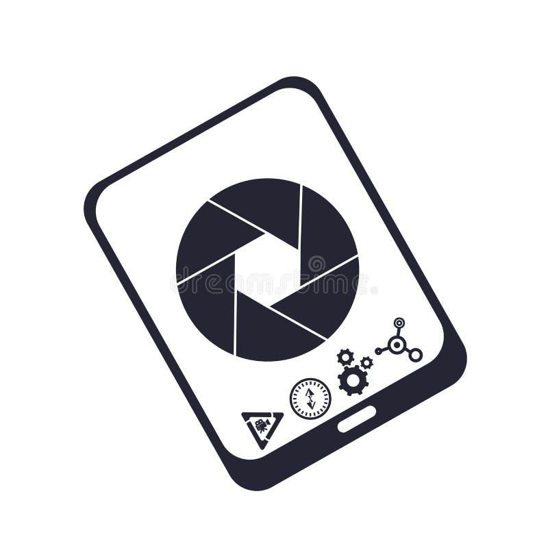 Tecken och symbol för Smartphone symbolsvektor som isoleras på vit bakgrund, Smartphone logobegrepp royaltyfri illustrationer
