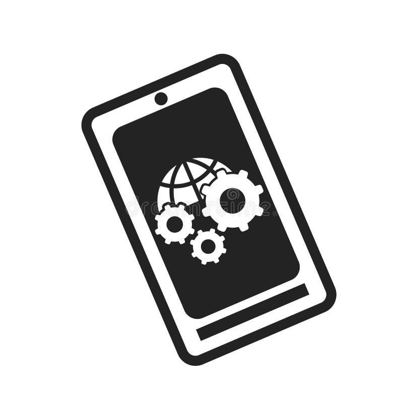 Tecken och symbol för Smartphone symbolsvektor som isoleras på vit bakgrund, Smartphone logobegrepp stock illustrationer