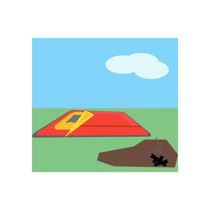 Tecken och symbol för sovsäcksymbolsvektor som isoleras på vit bakgrund, sovsäcklogobegrepp stock illustrationer