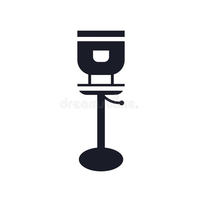 Tecken och symbol för stolsymbolsvektor som isoleras på vit bakgrund, stollogobegrepp stock illustrationer