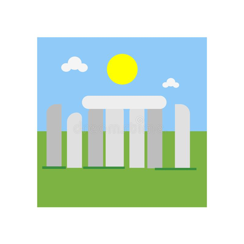 Tecken och symbol för Stonehenge symbolsvektor som isoleras på den vita backgroen stock illustrationer