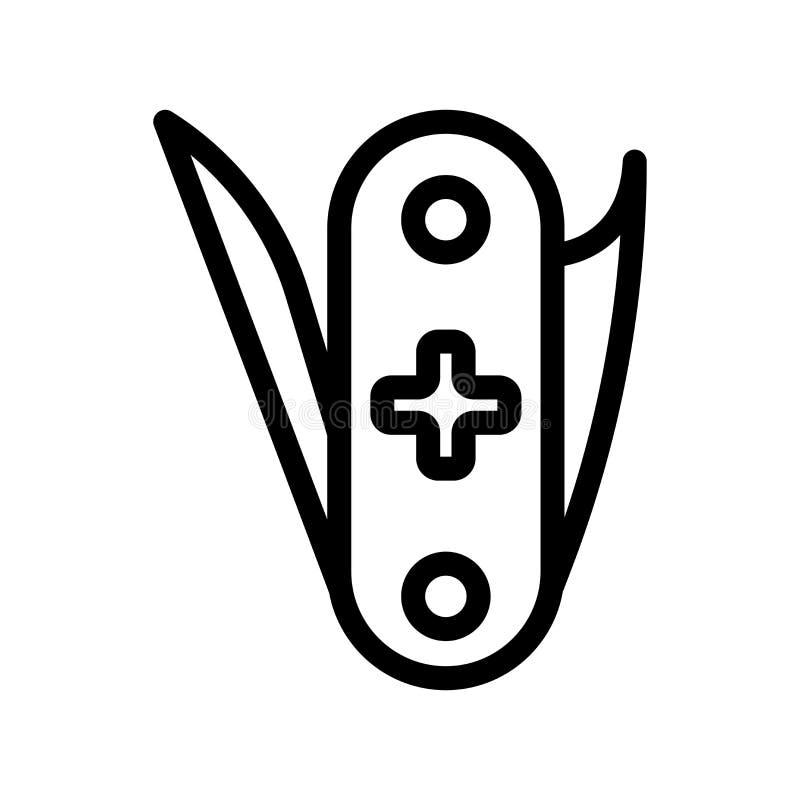 Tecken och symbol för stor fällknivsymbolsvektor som isoleras på den vita backgrouen vektor illustrationer