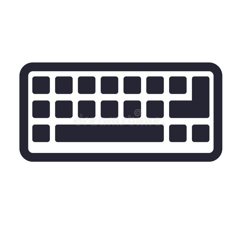 Tecken och symbol för tangentbordsymbolsvektor som isoleras på vit bakgrund, tangentbordlogobegrepp stock illustrationer