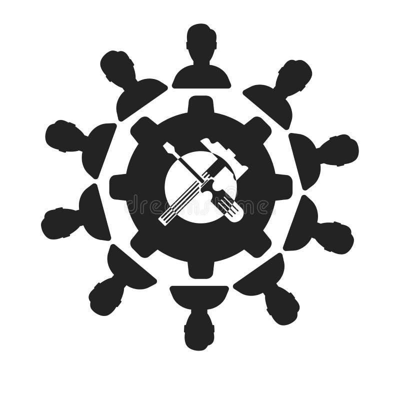 Tecken och symbol för teamworksymbolsvektor som isoleras på vit bakgrund, teamworklogobegrepp stock illustrationer