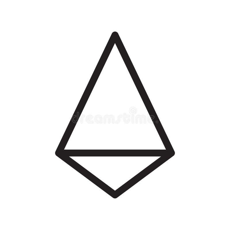 Tecken och symbol för Tetrahedronsymbolsvektor som isoleras på vit backgr stock illustrationer