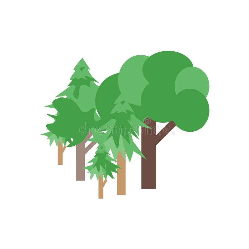 Tecken och symbol för trädsymbolsvektor som isoleras på vit bakgrund, trädlogobegrepp stock illustrationer