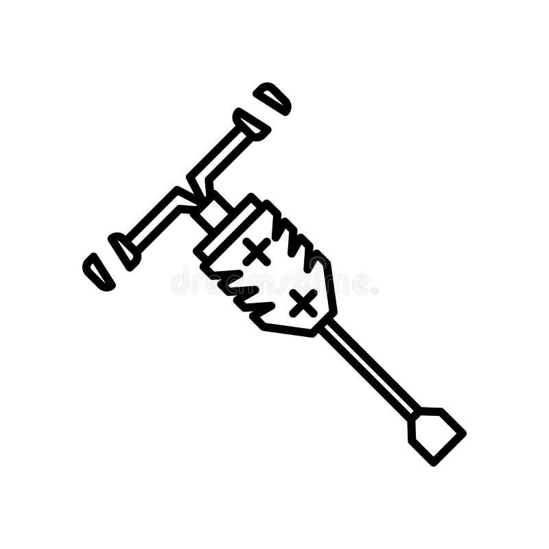 Tecken och symbol för tryckluftsborrsymbolsvektor som isoleras på vit bakgrund, tryckluftsborrlogobegrepp stock illustrationer
