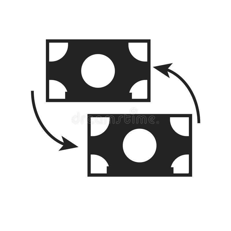 Tecken och symbol för utbytessymbolsvektor som isoleras på vit bakgrund, utbyteslogobegrepp stock illustrationer