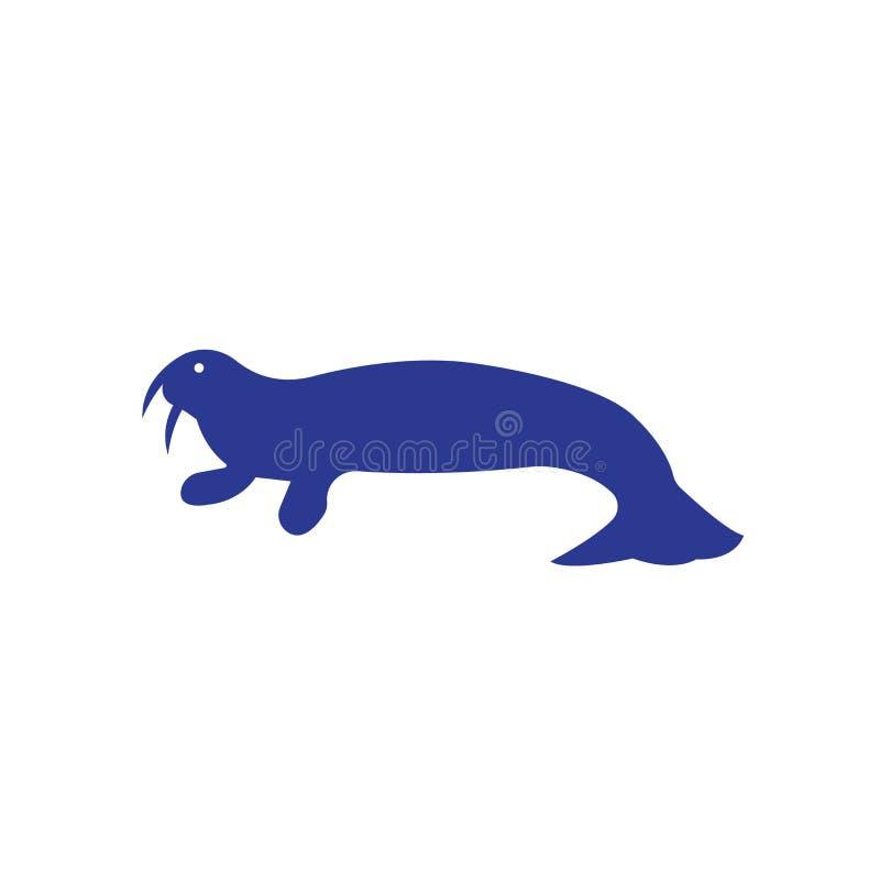 Tecken och symbol för valrosssymbolsvektor som isoleras på vit bakgrund stock illustrationer