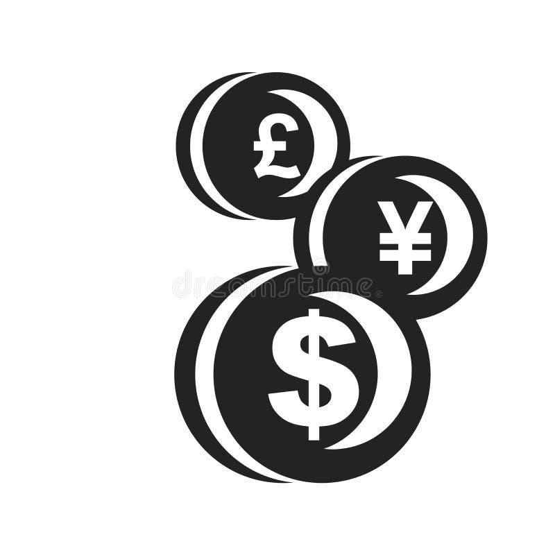 Tecken och symbol för valutasymbolsvektor som isoleras på vit bakgrund, valutalogobegrepp stock illustrationer