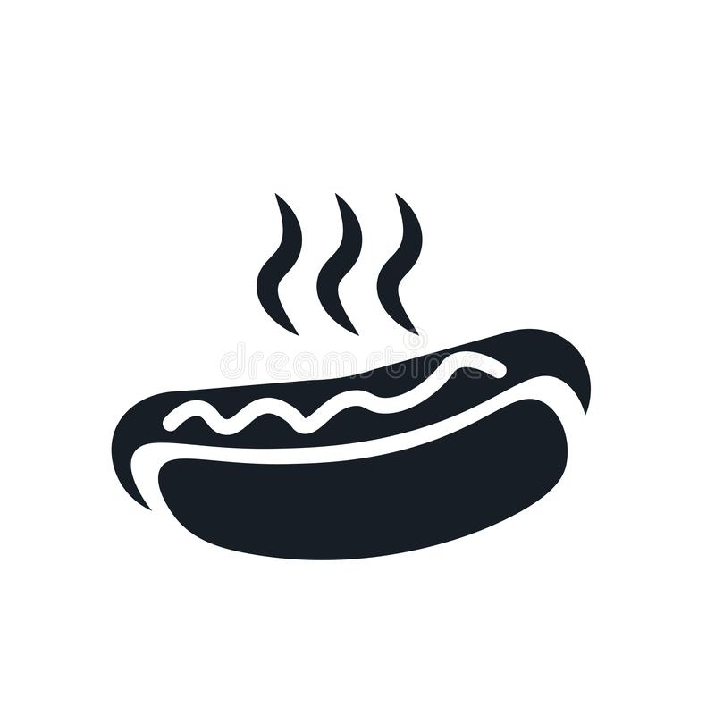 Tecken och symbol för varmkorvsymbolsvektor som isoleras på vit bakgrund, varmkorvlogobegrepp stock illustrationer