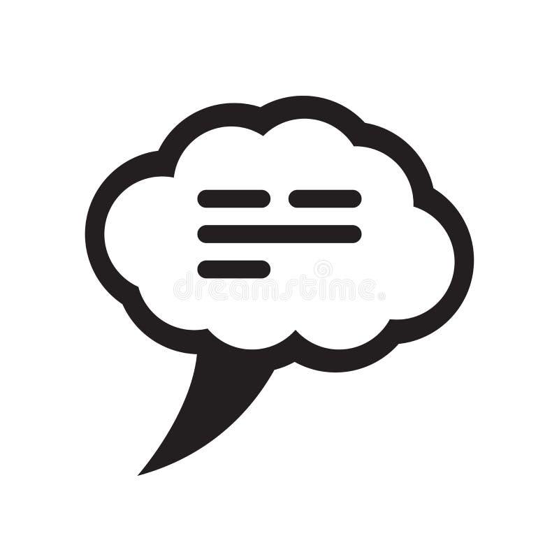 Tecken och symbol för vektor för symbol för anförandeballong som isoleras på vit bac stock illustrationer