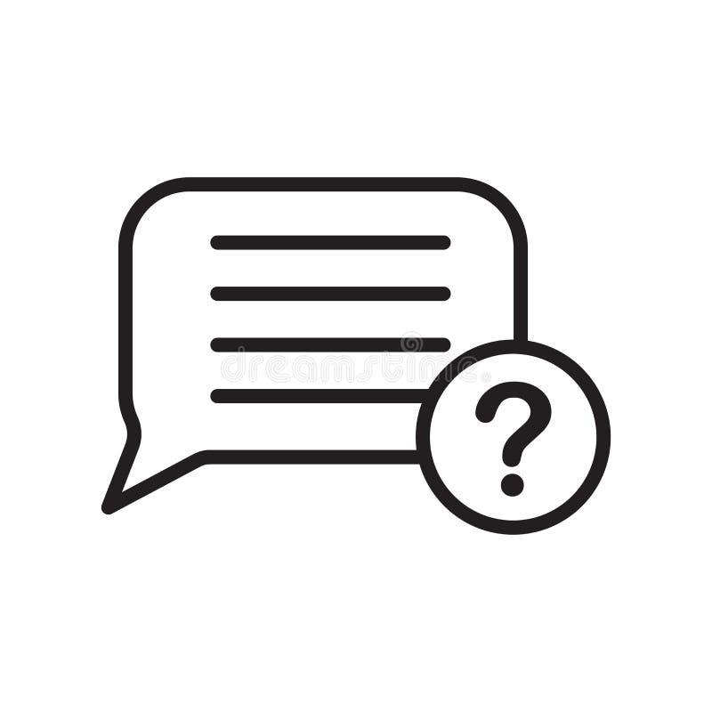 Tecken och symbol för vektor för anförandebubblasymbol som isoleras på vit bakgrund, begrepp för anförandebubblalogo, översiktssy stock illustrationer
