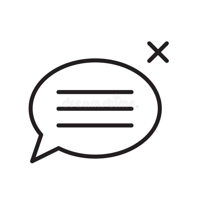 Tecken och symbol för vektor för anförandebubblasymbol som isoleras på vit bakgrund, begrepp för anförandebubblalogo, översiktssy royaltyfri illustrationer