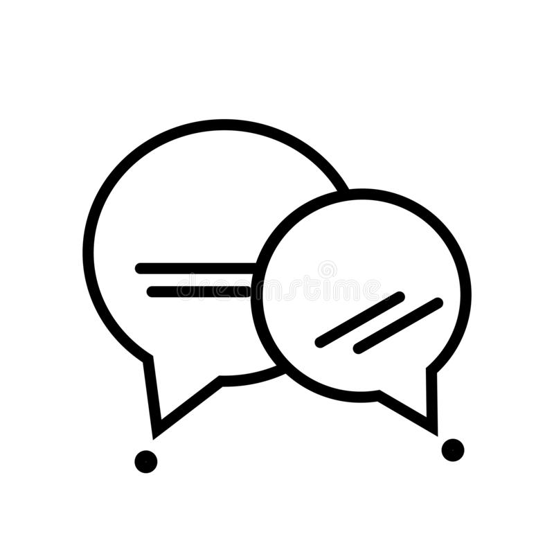Tecken och symbol för vektor för anförandebubblasymbol som isoleras på vit bakgrund, begrepp för anförandebubblalogo vektor illustrationer