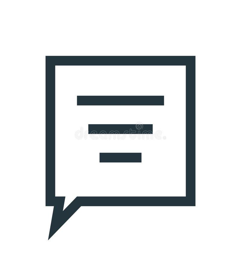 Tecken och symbol för vektor för anförandebubblasymbol som isoleras på vit bakgrund, begrepp för anförandebubblalogo stock illustrationer