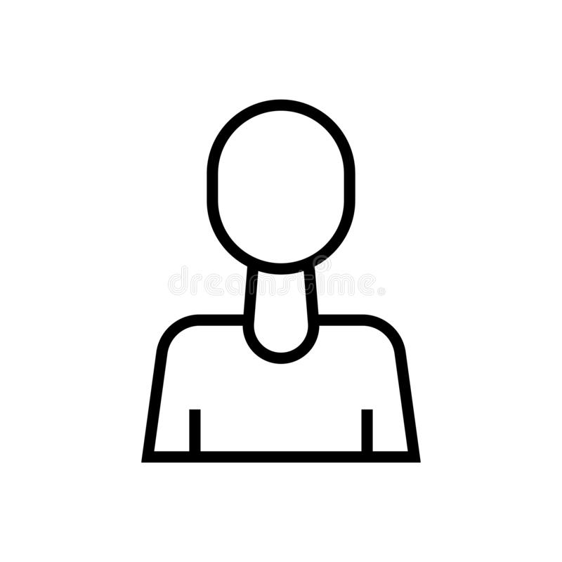 Tecken och symbol för vektor för användareAvatarsymbol som isoleras på vit bakgrund, begrepp för användareAvatarlogo vektor illustrationer